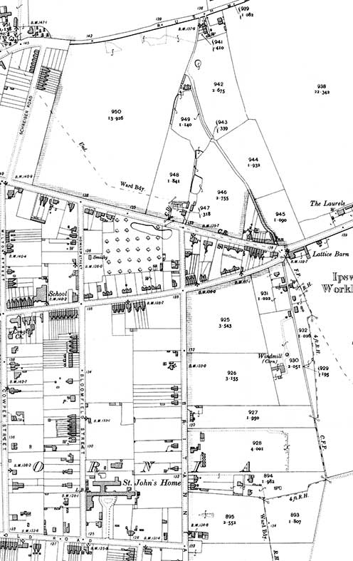 Ipswich Historic Lettering: Bloomfield St brickworks map 1900