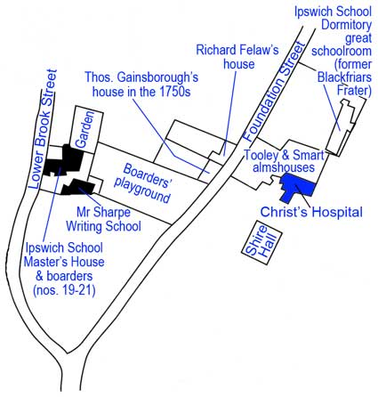 Ipswich Historic Lettering: Christ's Hospital School map