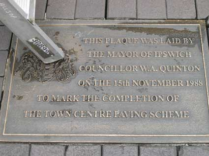 Ipswich Historic Lettering: Cornhill paving crest