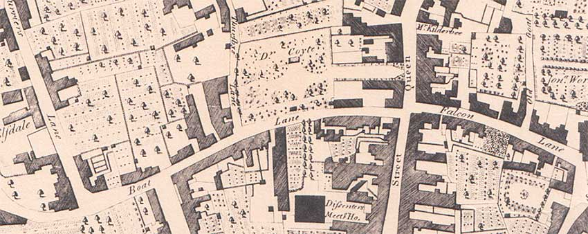 Ipswich Historic Lettering: Coytes Gardens map 1778