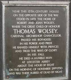 Ipswich Historic Lettering: Thomas Wolsey plaque