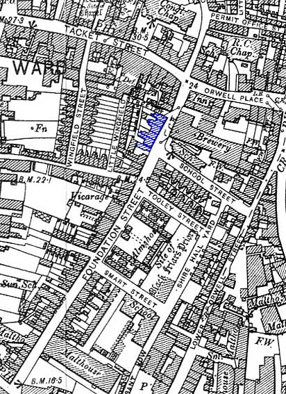 Ipswich Historic Lettering: Felaw's House map 1902