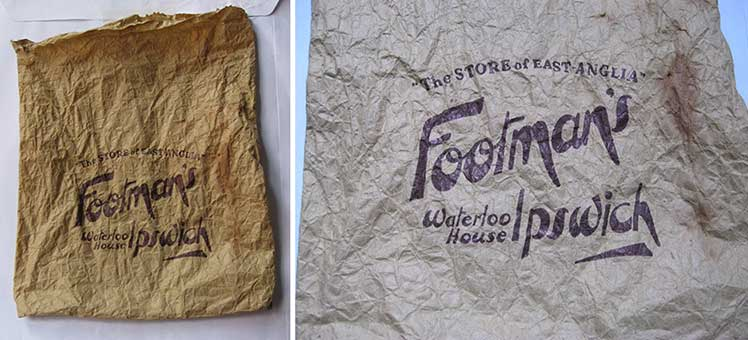 Ipswich Historic Lettering: Footmans store bag
