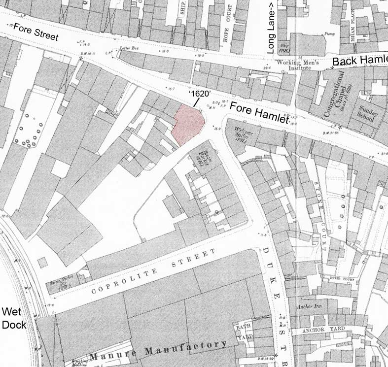 Ipswich Historic Lettering: Fore Street 1620 map