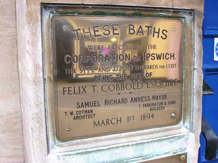Ipswich Historic Lettering: Fore Street Baths plaque