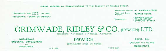 Ipswich Historic Lettering: Grimwade Ridley letter