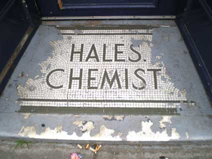 Ipswich Historic Lettering: Hales Chemist step cleared