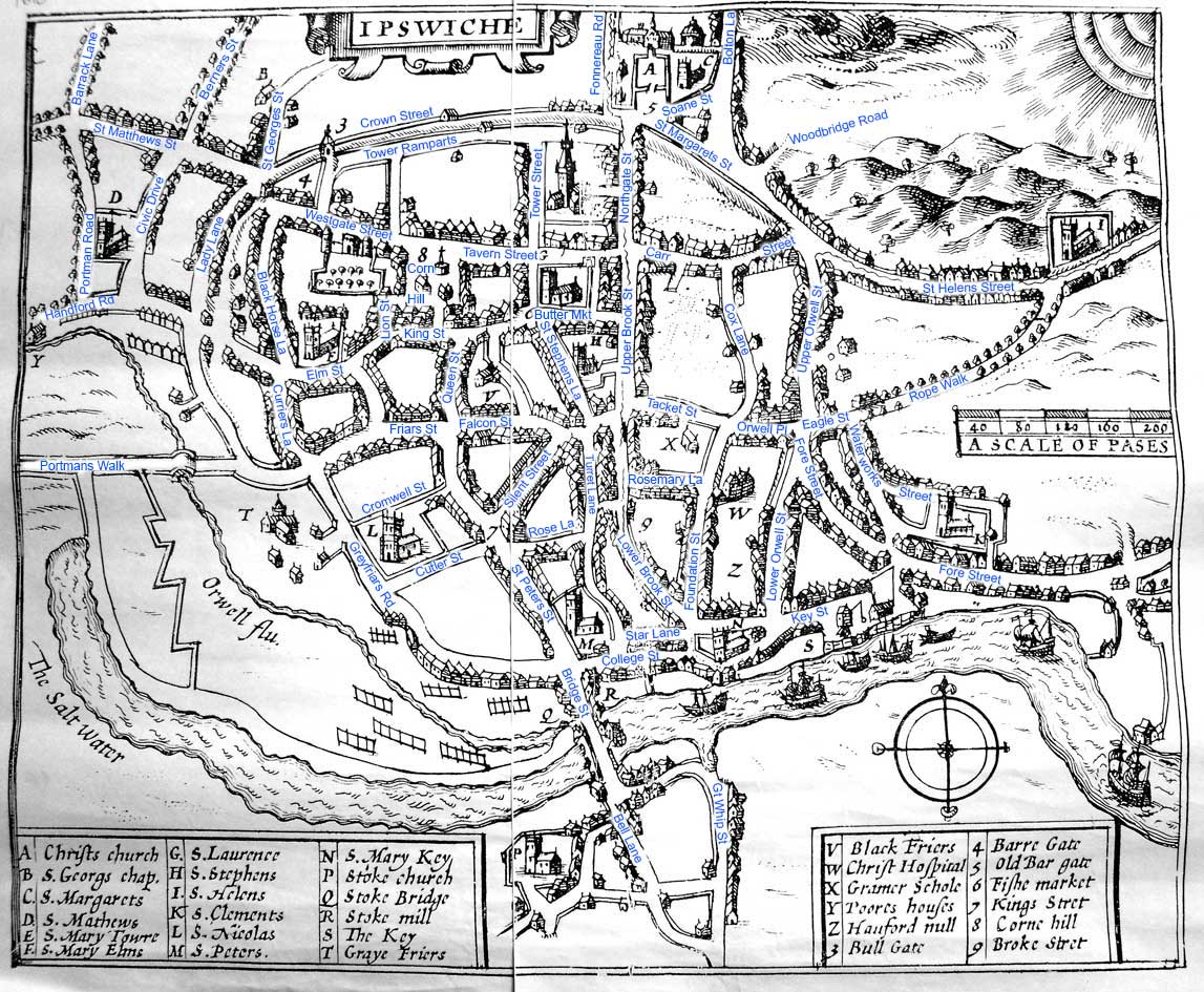 Ipswich Historic Lettering: map 1610 captions