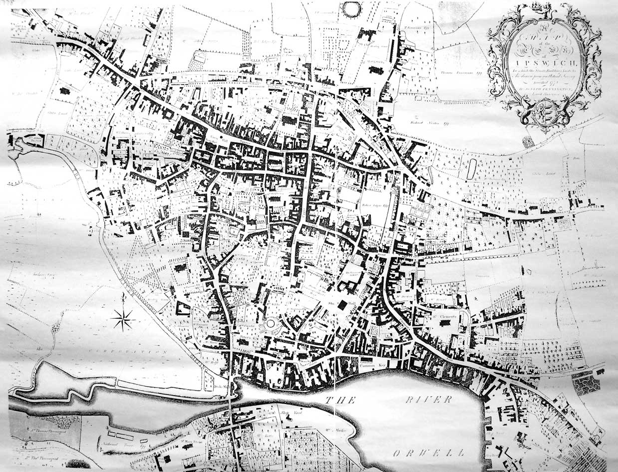 Ipswich Historic Lettering: Map of Ipswich 1778