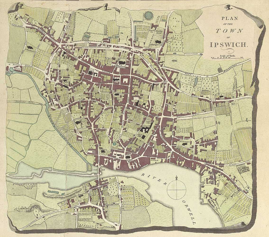 Ipswich Historic Lettering: map 1780 colour