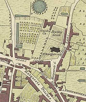 Ipswich Historic Lettering: Christchurch Bowling Green map 1780