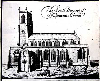 Ipswich Historic Letering: St Clement Ogilby map 1674