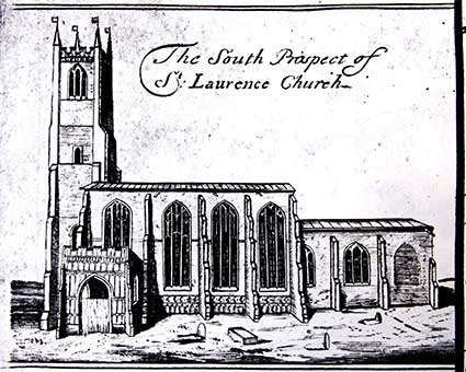Ipswich Historic Lettering: St Lawrence Church Ogilby map