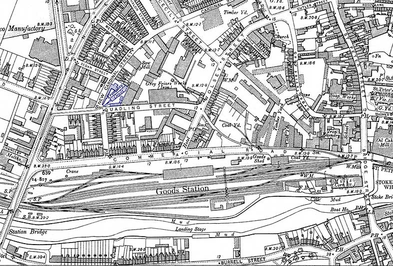Ipswich Historic Lettering: Quadling Street map 1902