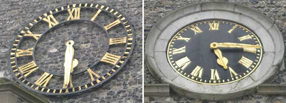 Ipswich Historic Letering: St Clement Church clocks
