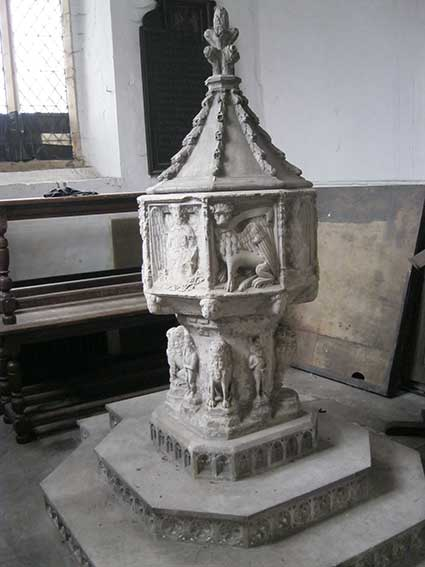 Ipswich Historic Letering: St Clement Church font 1