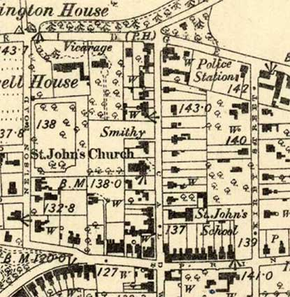 Ipswich Historic Lettering: St Johns Virage map 1884