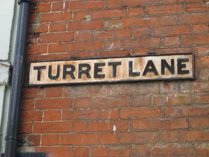 Ipswich Historic Lettering: Turret Lane sign