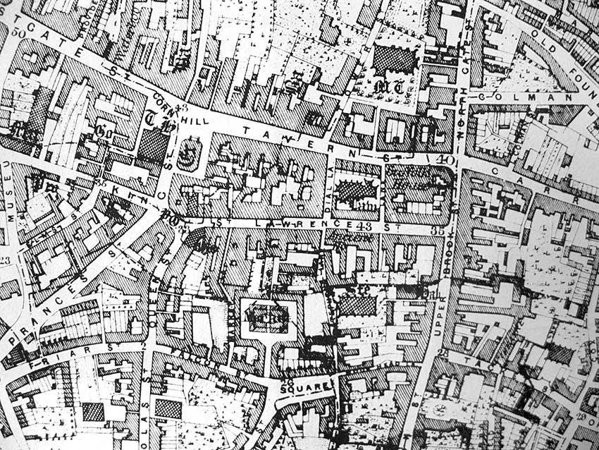 Ipswich Historic Lettering: Butter Market map 1867