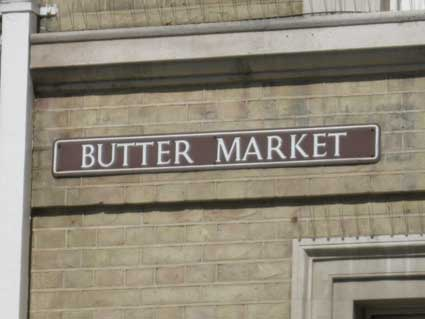 Ipswich Historic Lettering: Butter Market sign 2